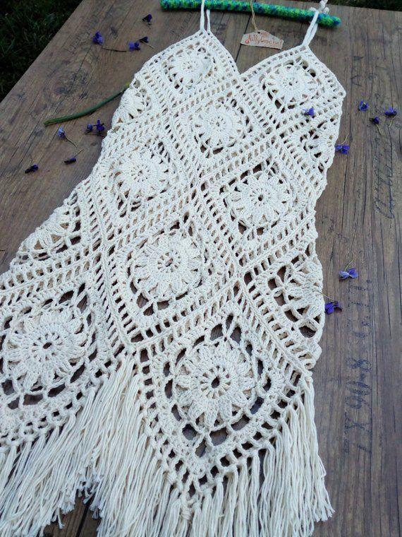 Photo of Crochet Boho Dress, Summer Dress, Beach Dress, Bikini cover ups, swimsuit cover up, Crochet Festival Dress, Fringe Dress, Boho Crochet Maxi