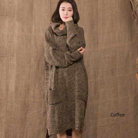 Kvinder vinter retrostil løs bomuld hør sweater kjole