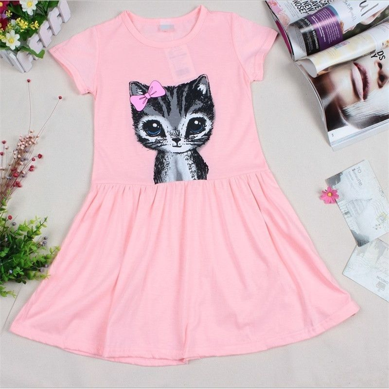 4e2a8880f3159 Baby Girl's Grey/Pink Dress with Adorable Cat Print. 1-8 Years Old ...