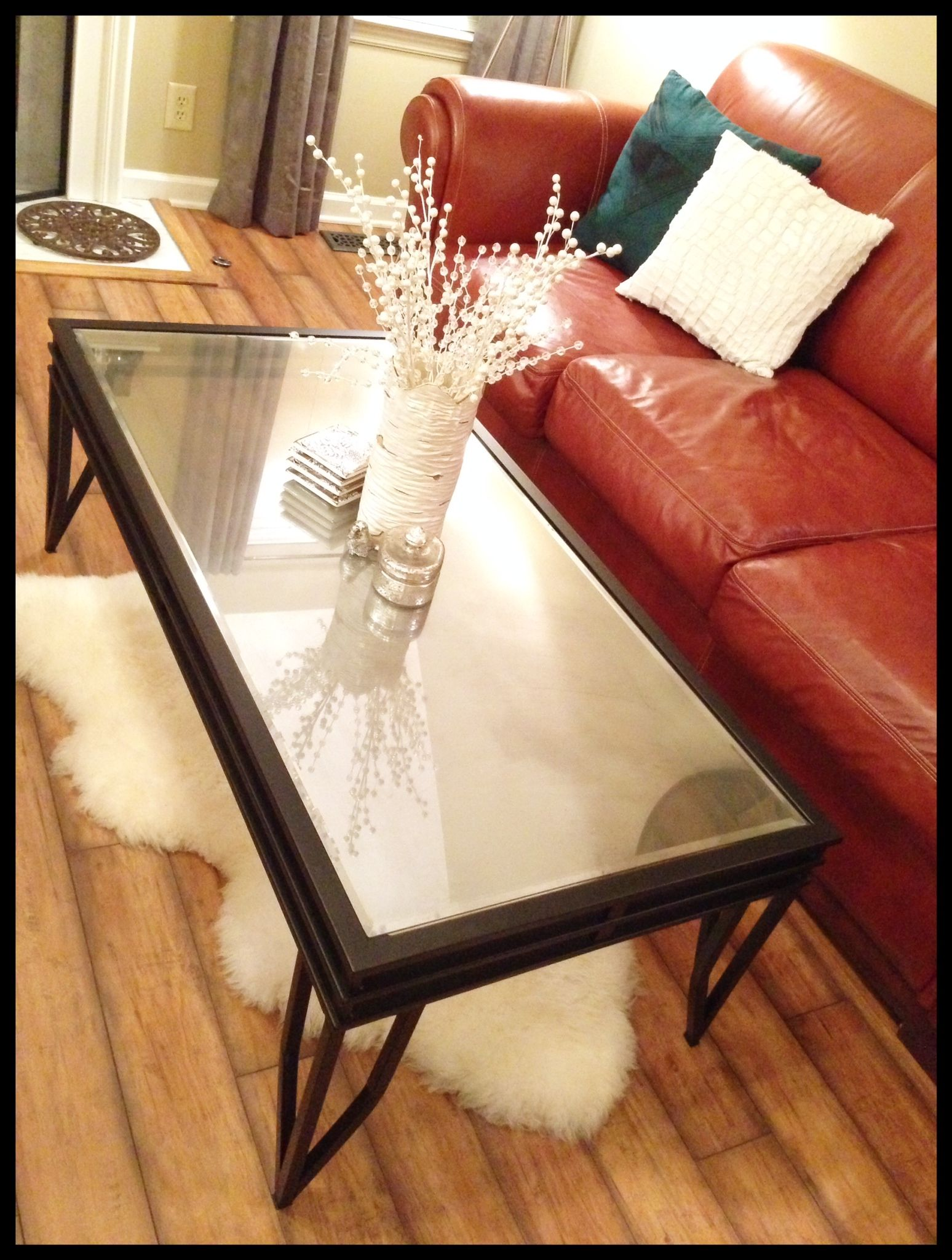 Diy coffee table therefurbishedlife turn a glass top diy coffee table therefurbishedlife turn a glass top table into geotapseo Gallery