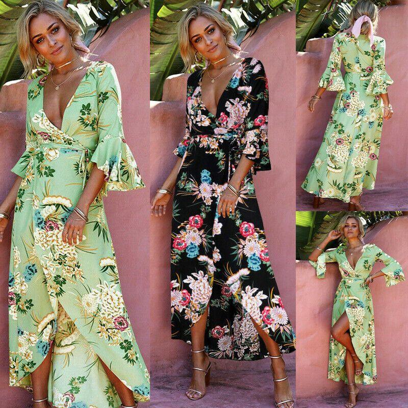 Women Bohemia Wrap Long Maxi Dress Evening Cocktail Party Beach Dresses Sundress