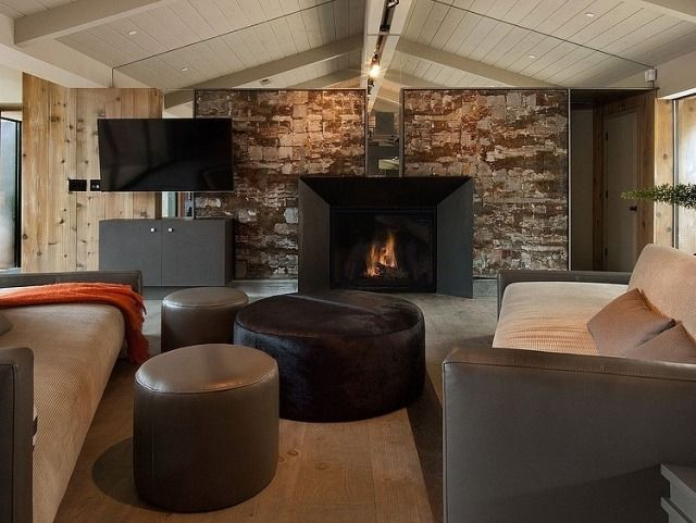 Holz Wohnzimmer ~ Wandgestaltung stein holz wohnzimmer satteldach architektur
