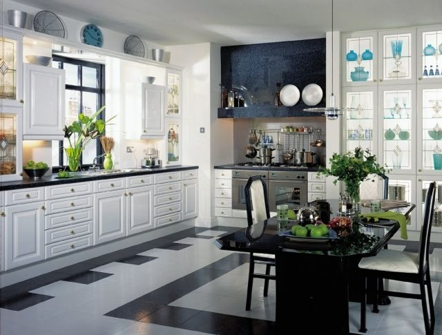 Cuisine cuisine blanche carrelage noir : Carrelage cuisine en noir et blanc - 22 intérieurs inspirants ...
