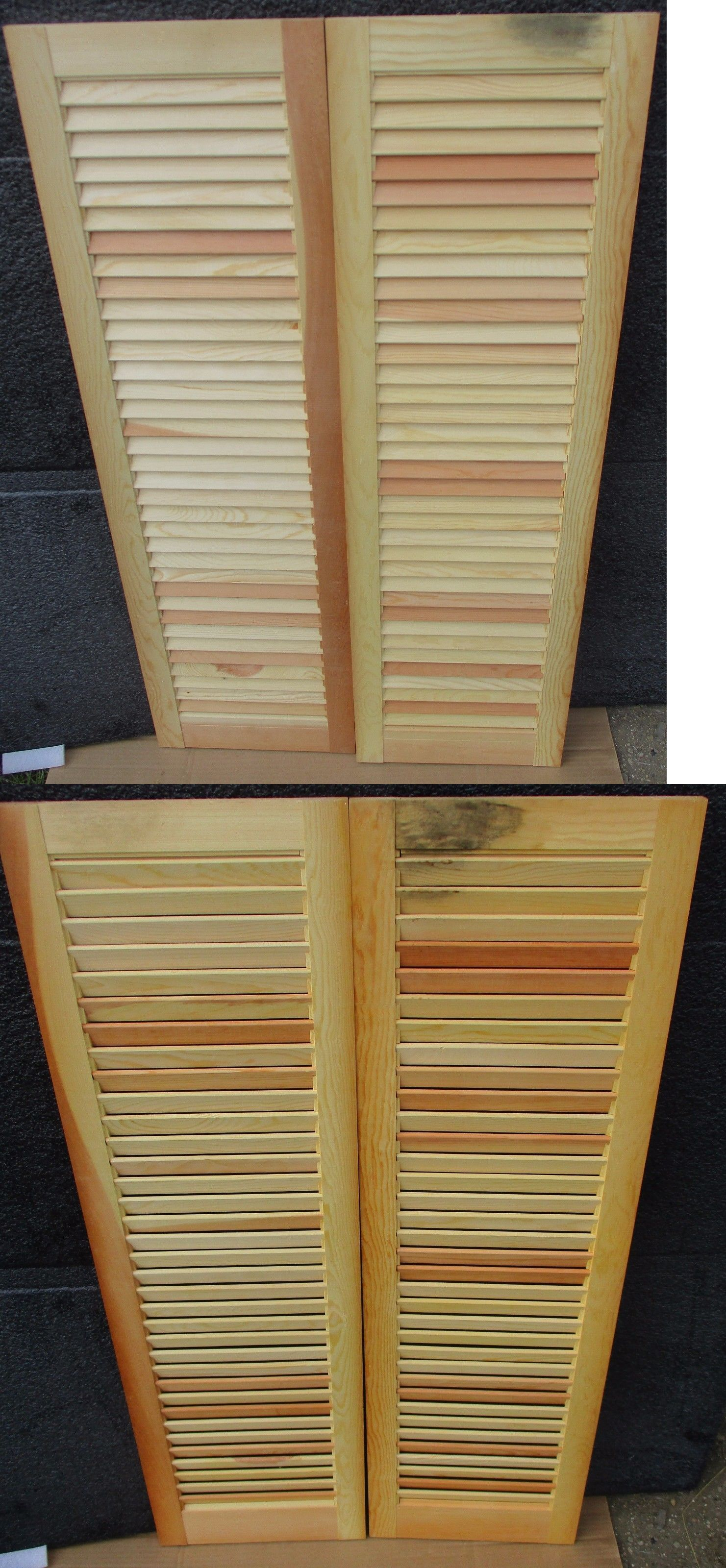 Shutters 66799 Set Vintage Fixed Louver Interior Window Shutter