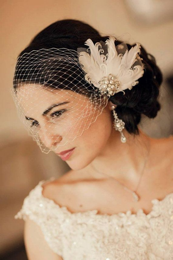 68f7b9a8215c13 Birdcage veil with wedding hair accessory of feathers and jewel ...