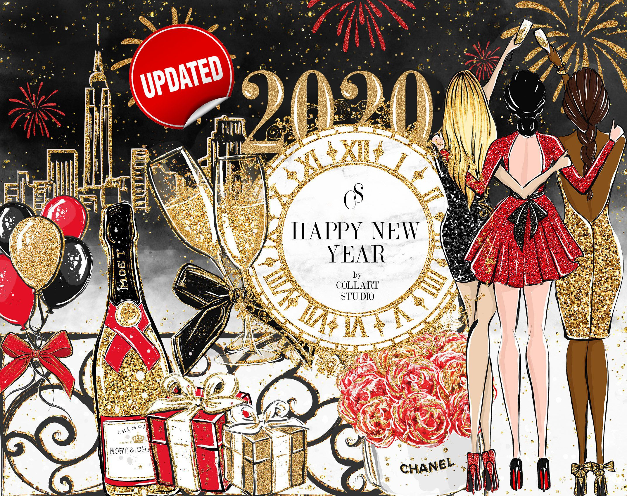New Year Clip Art Fashion Illustration, Party clipart