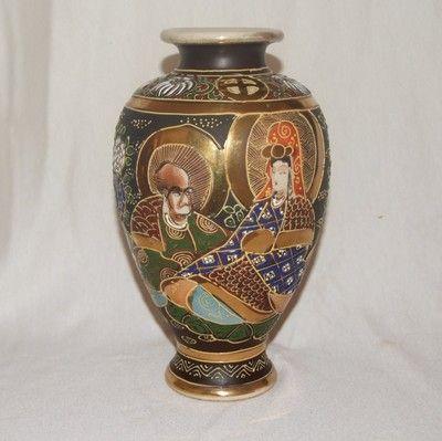 Antique Japanese Satsuma Vase Porcelain Meiji Era Early 1900s