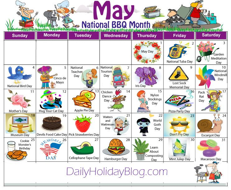 May Daily Holidays Calendar Calendars Pinterest Weird Holidays