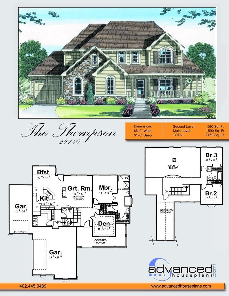 29140 Thompson A Wrapping Front Porch Chimes In With A Trio Of Soaring Gables On This Traditional Style 1 5 Sto House Plans Advanced House Plans Story House