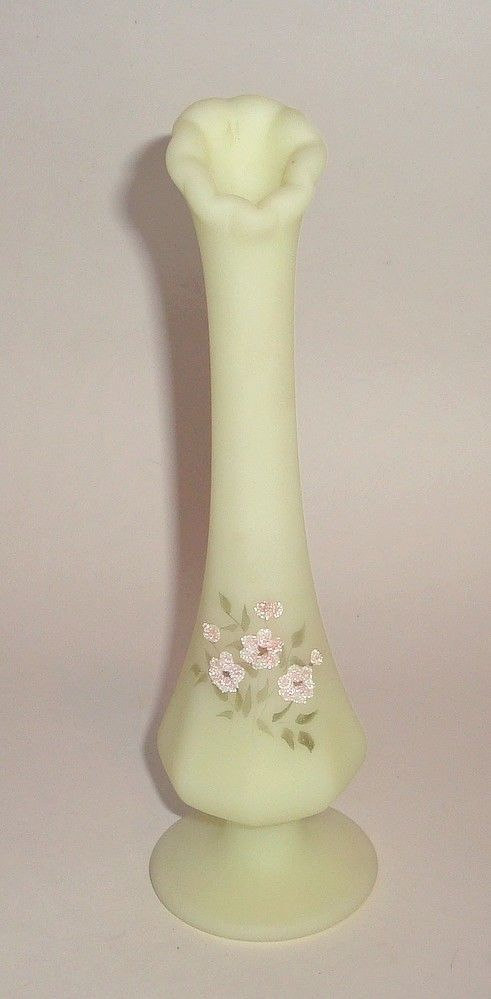 8 Fenton Custard Glass Vase With Hand Painted And Coralene