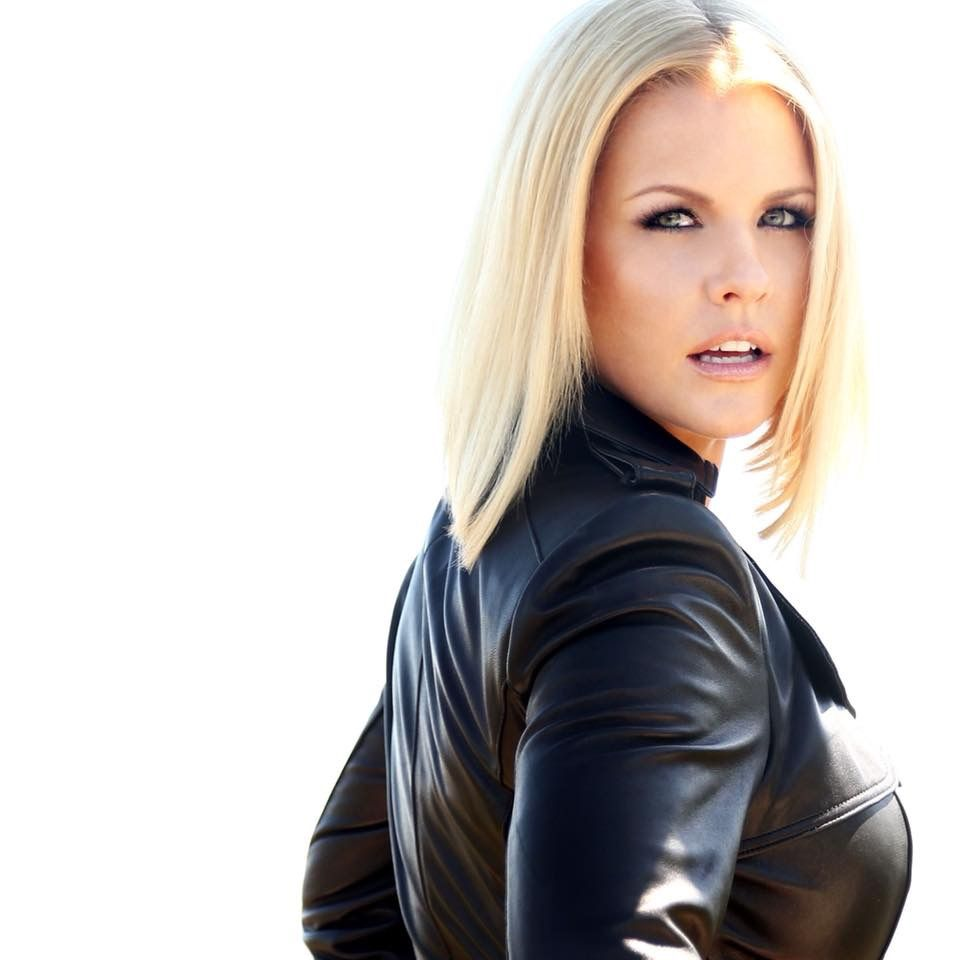 Blond lesbian in leather