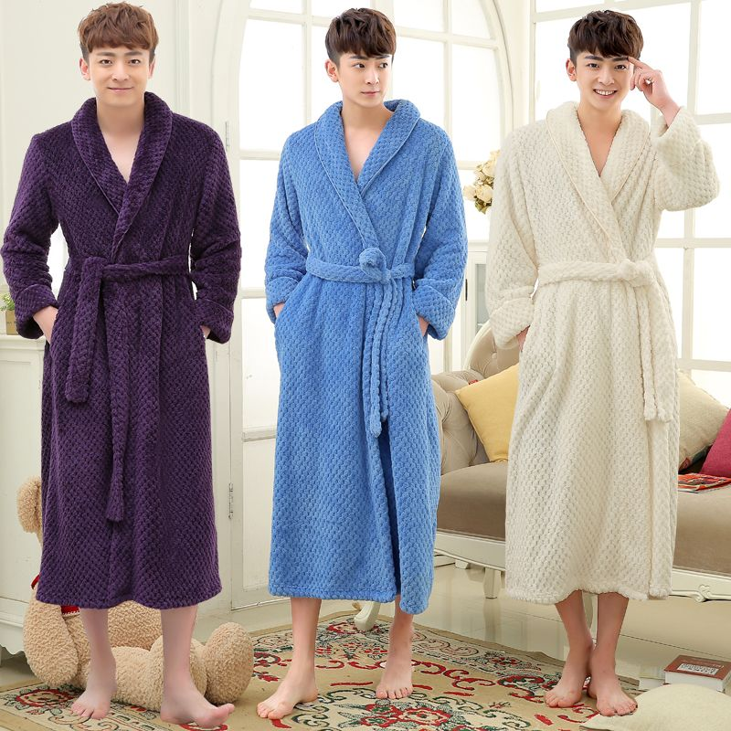 Click to Buy << Hot Sale Men Long Winter Thick Warm Bath Robe Men ...