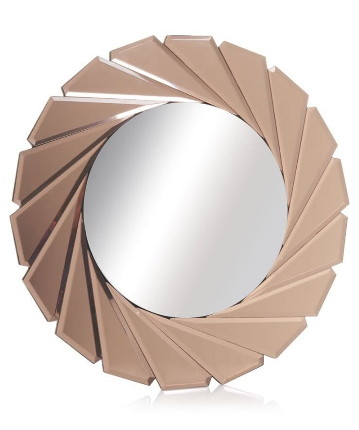 Art Deco Style Large Bevelled Cut Rose Gold Round Mirror New Bathroom Hall 50cm