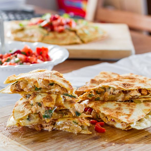 Caramelized Pineapple Chicken Quesadillas with Strawberry Salsa | Jo Cooks