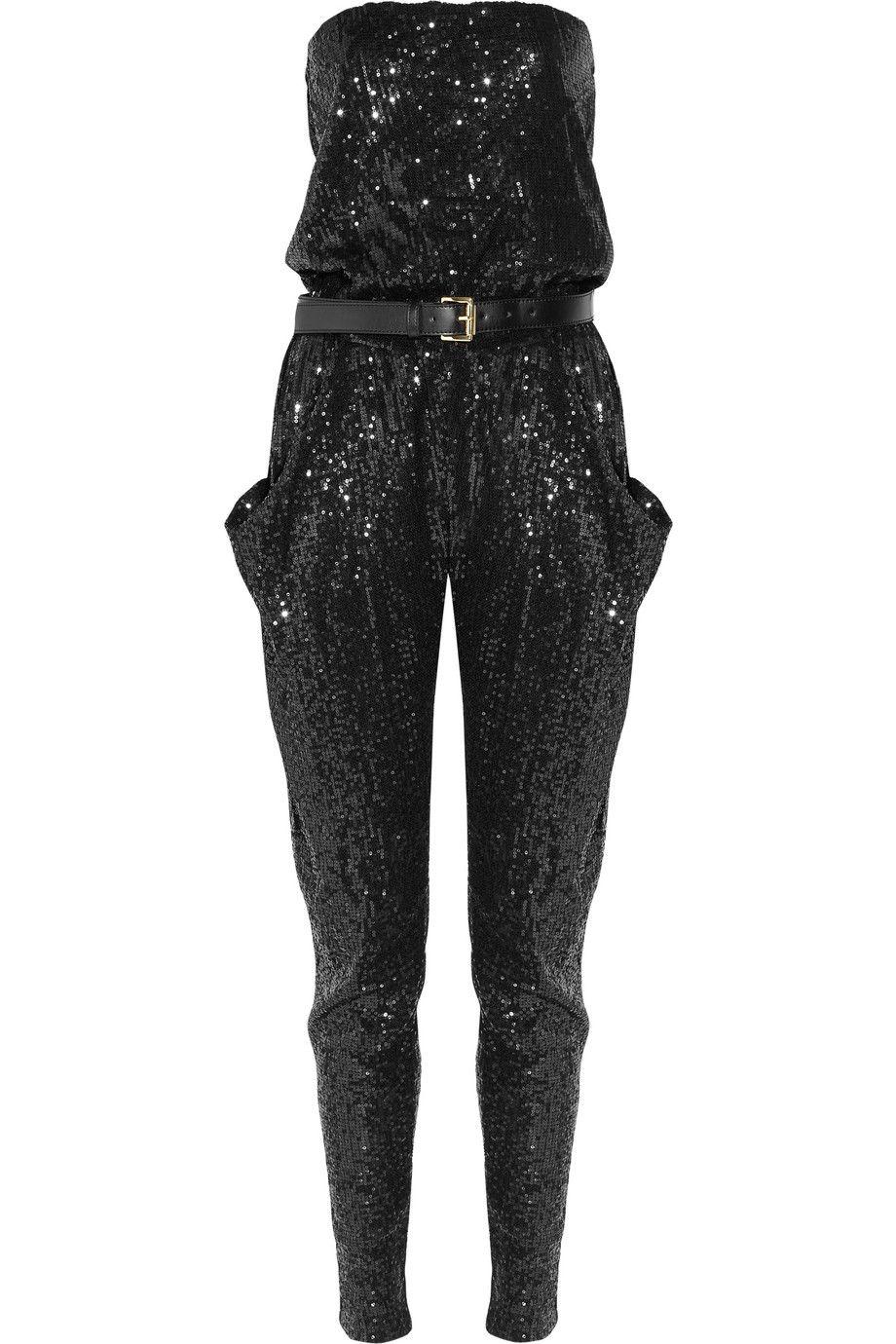0bdc5b5a86a MICHAEL Michael Kors Strapless sequined jumpsuit 1