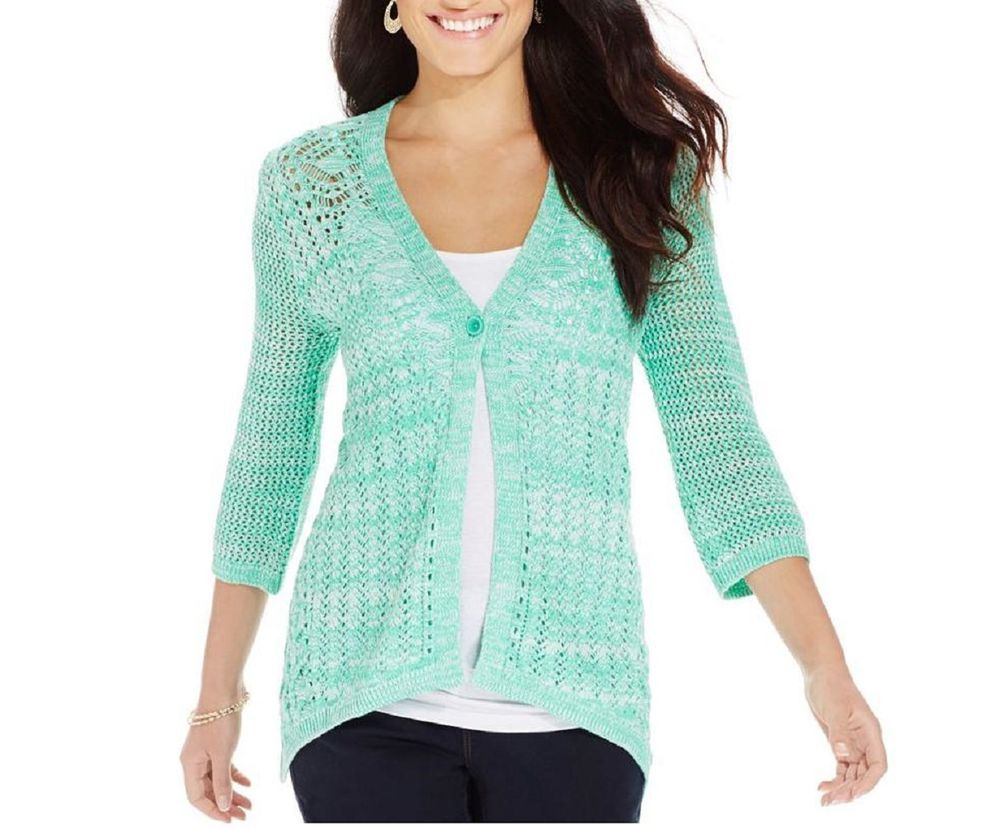 Style & Co. Misses Womens Crochet Cardigan Sweater Sz L MINT White ...