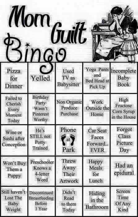 Mommy guilt bingo