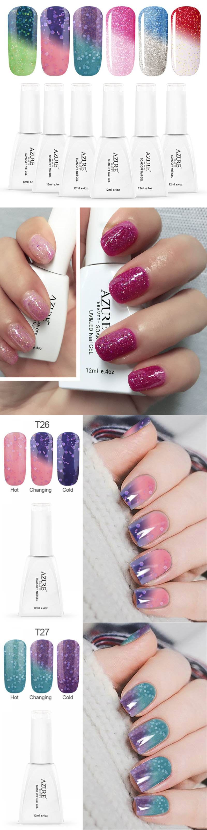 Gel Nails: Azure Beauty Gel Nail Polish Set Mood Color Change Gel ...