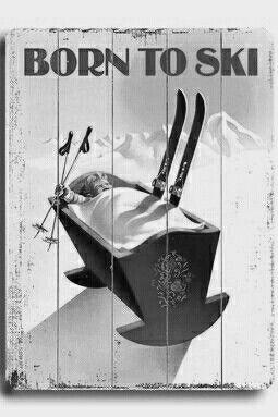 TELLURIDE COLORADO BORN TO SKI CRADLE BABY SKIING SPORT USA VINTAGE POSTER REPRO