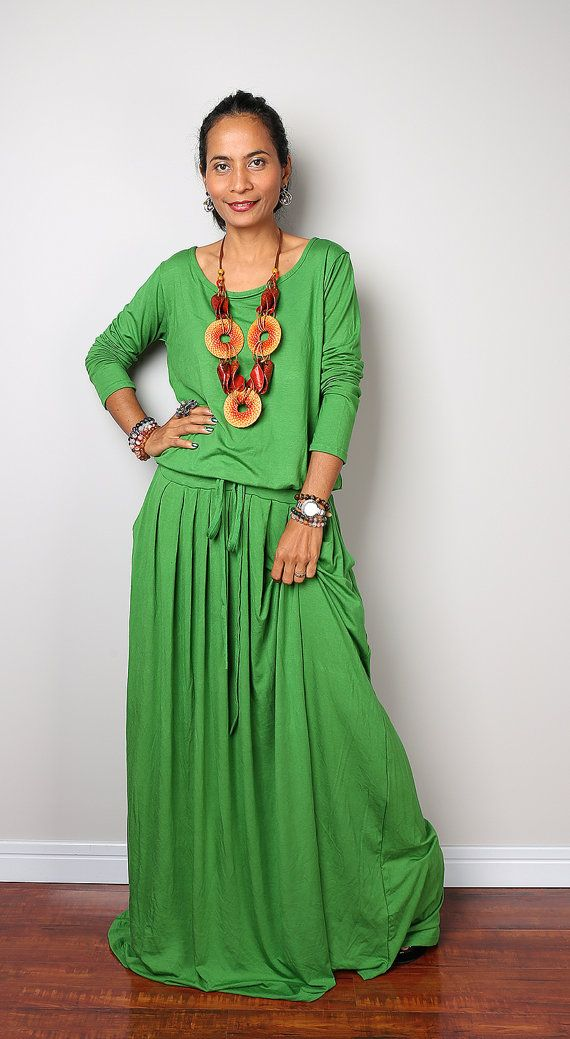 Green Maxi Dress - Soft Green Long Sleeve Dress : Autumn Thrills Collection No.1 (Best Seller)