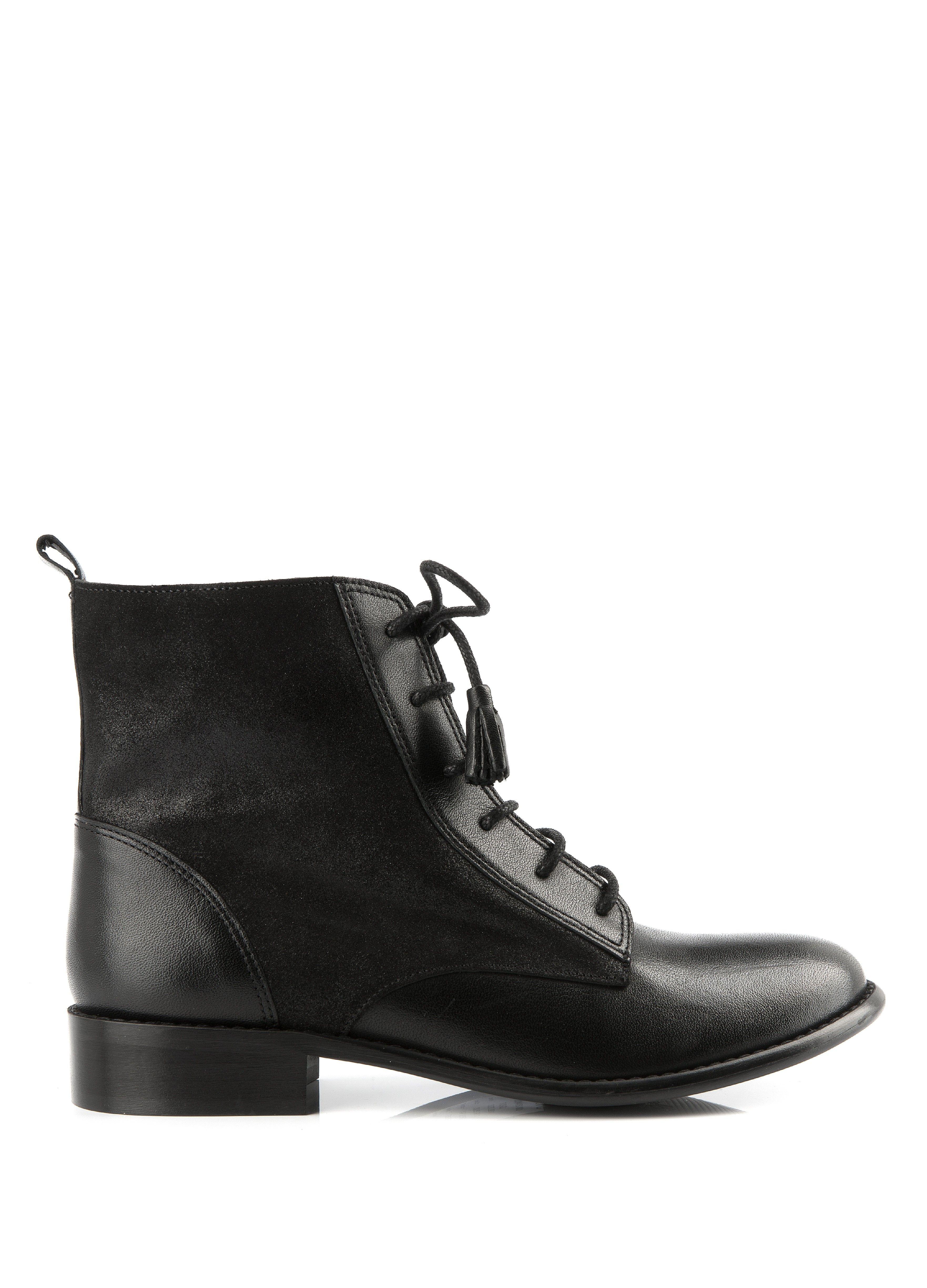 bottine tiso noir - bottines plates - chaussures femme - femme