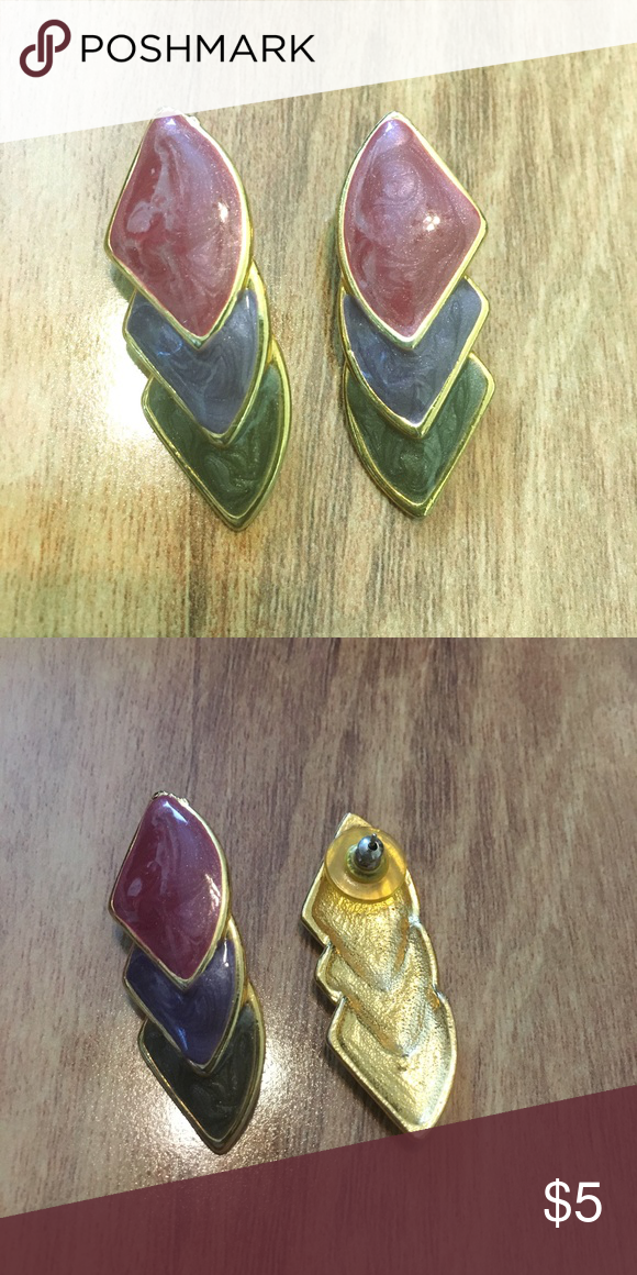 Triple Layer Tri-Color Earrings My husband says that these look like