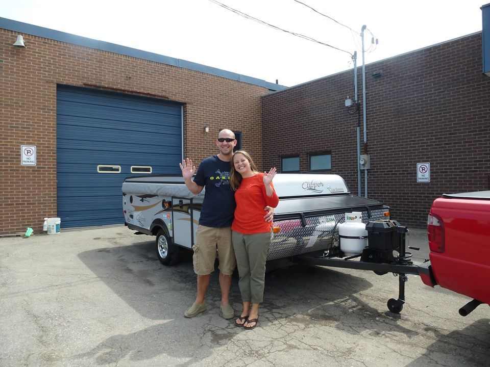 Congratulations Sean & Candace.  Super cute couple ready to enjoy some great camping adventures in their new Clipper 125ST Anniversary Tent Trailer.  Happy Camping!