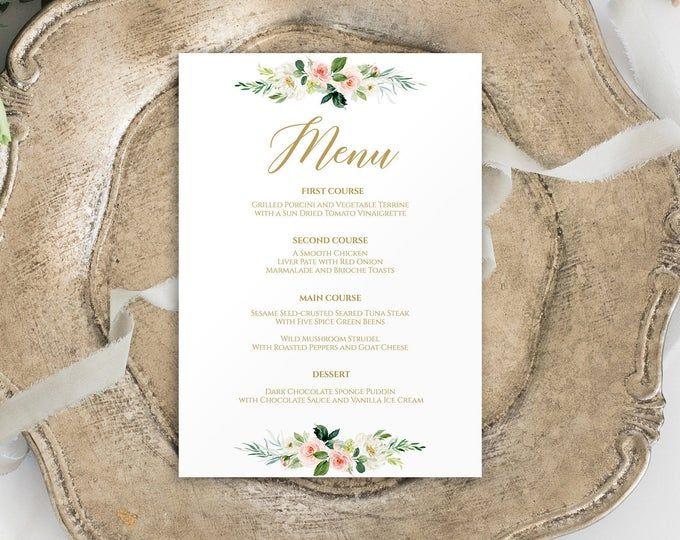 Wedding Menu Printable, Wedding Menu Template, Editable Menu Template, Greenery Wedding Menu Template, Instant Download Wedding Menu, 0189 #weddingmenutemplate