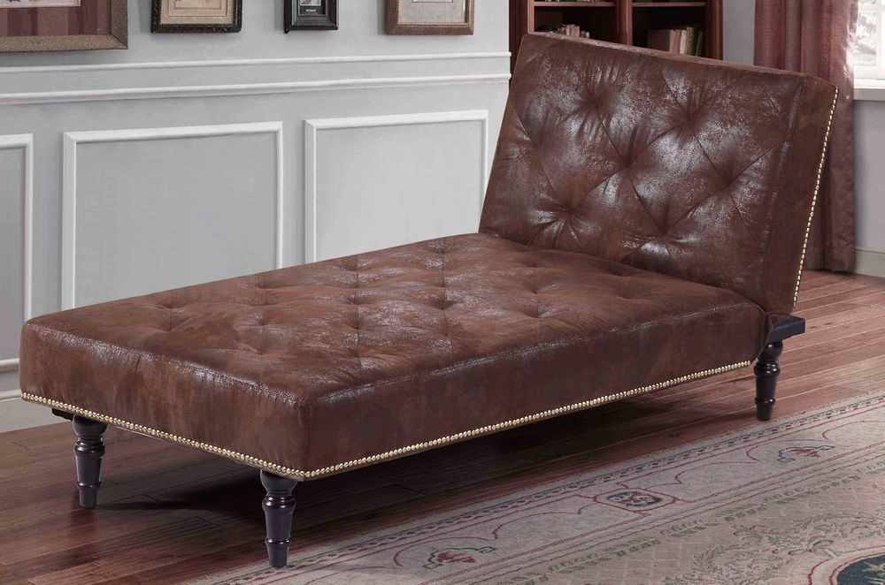 Brown Faux Suede Leather Chaise Longue Single Sofa Bed Vintage