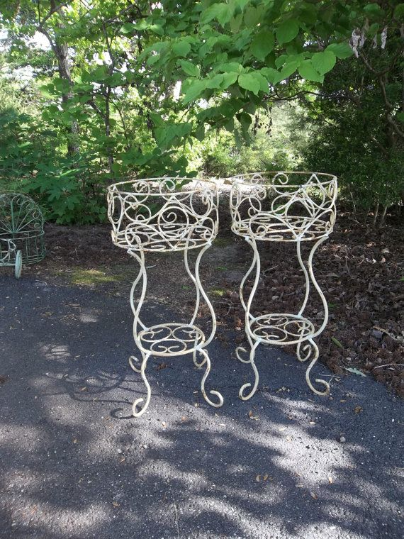 Vintage garden decor wrought iron plant stands wedding decorations vintage garden decor wrought iron plant stands wedding decorations french county farmhouse shabby chic set of 2 rusty chippy junglespirit Image collections