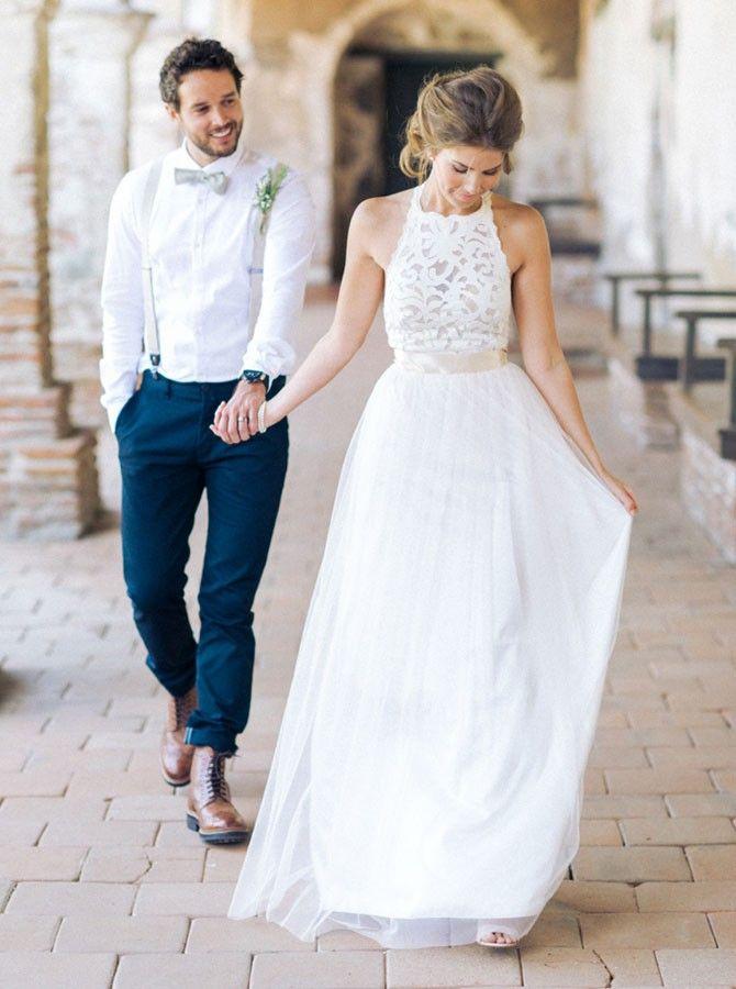 Buy Simple Jewel Sleeveless Floor-Length Chiffon Lace Top Wedding ...