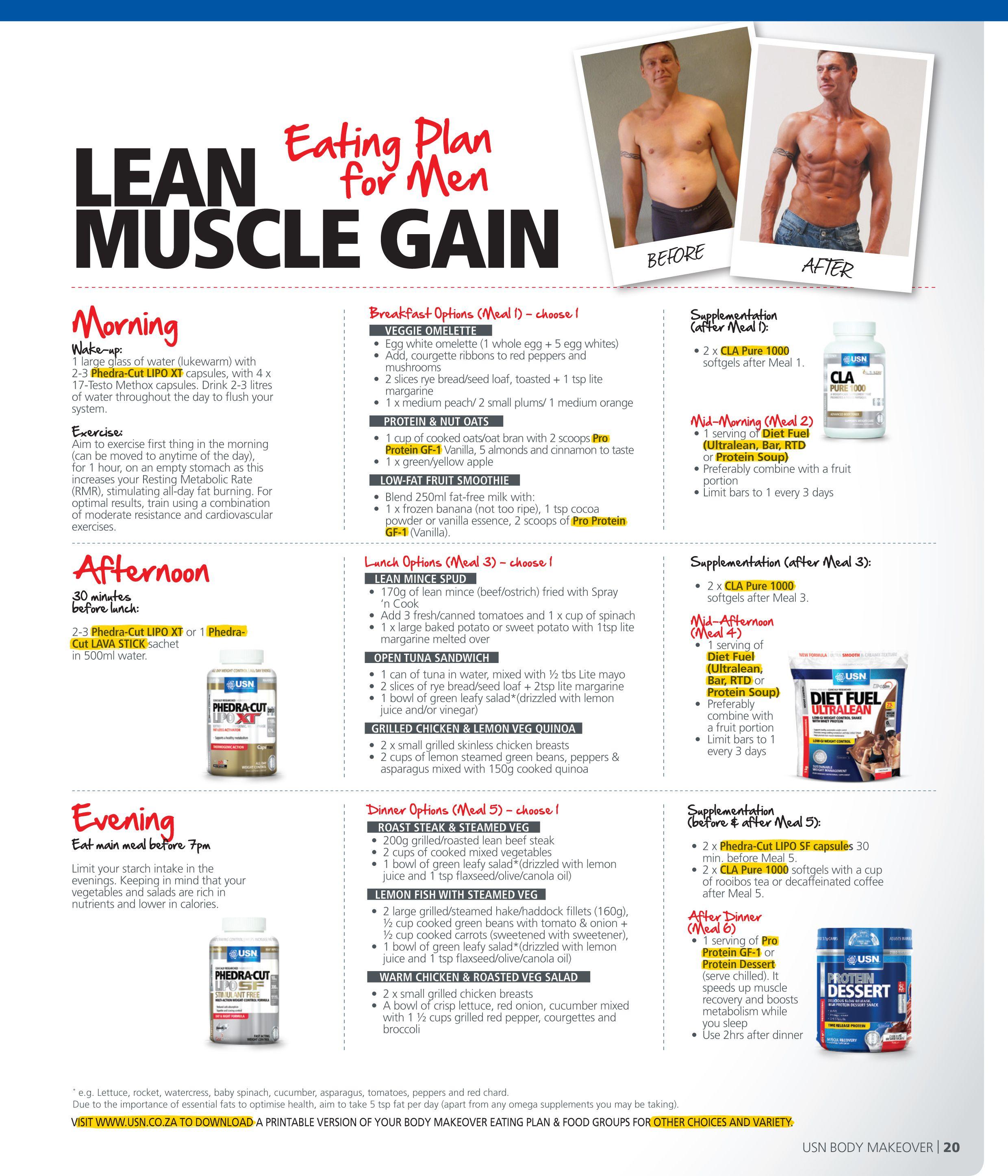 sample diet plan for lean muscle gain Bodybuilding