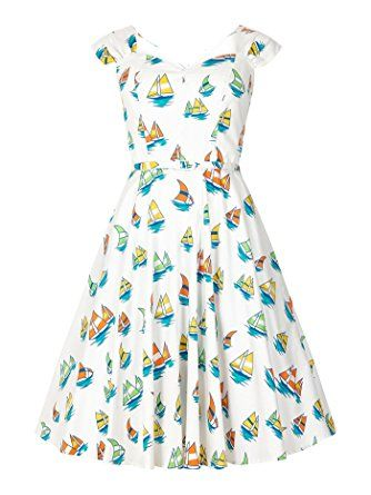 Aida Zak SANDRA Vintage BOAT Nautical Sailor 40s Swing DRESS Kleid ...