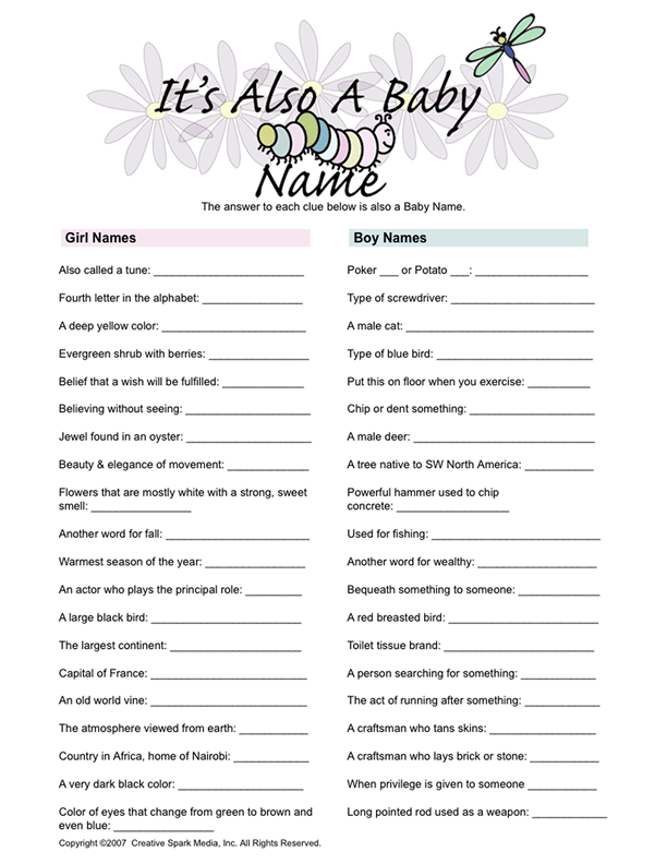 baby shower game that would be a fun life skills activity when we