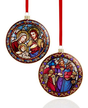 Holiday Lane Set Of 2 Glass Holy Family Glass Ornaments Created For Macy S Macys Com Glass Ornaments Ornaments Glass Christmas Ornaments
