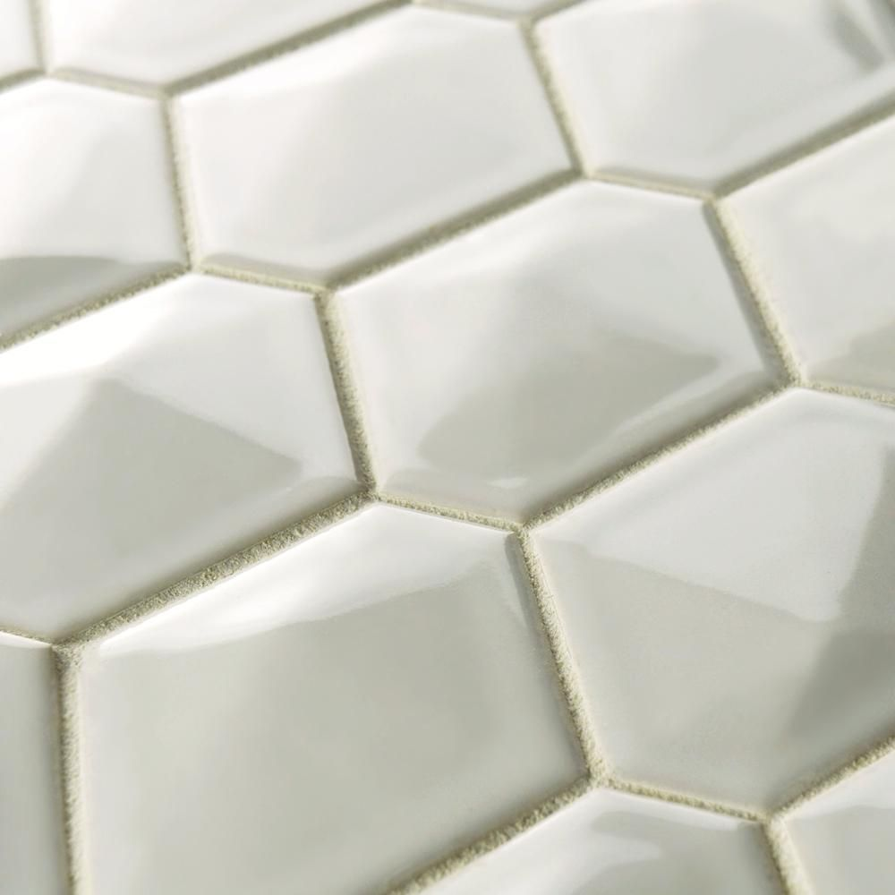 Merola Tile Prism Glossy White 10 1 2 In X 11 6 Mm Porcelain Mosaic High Sheen