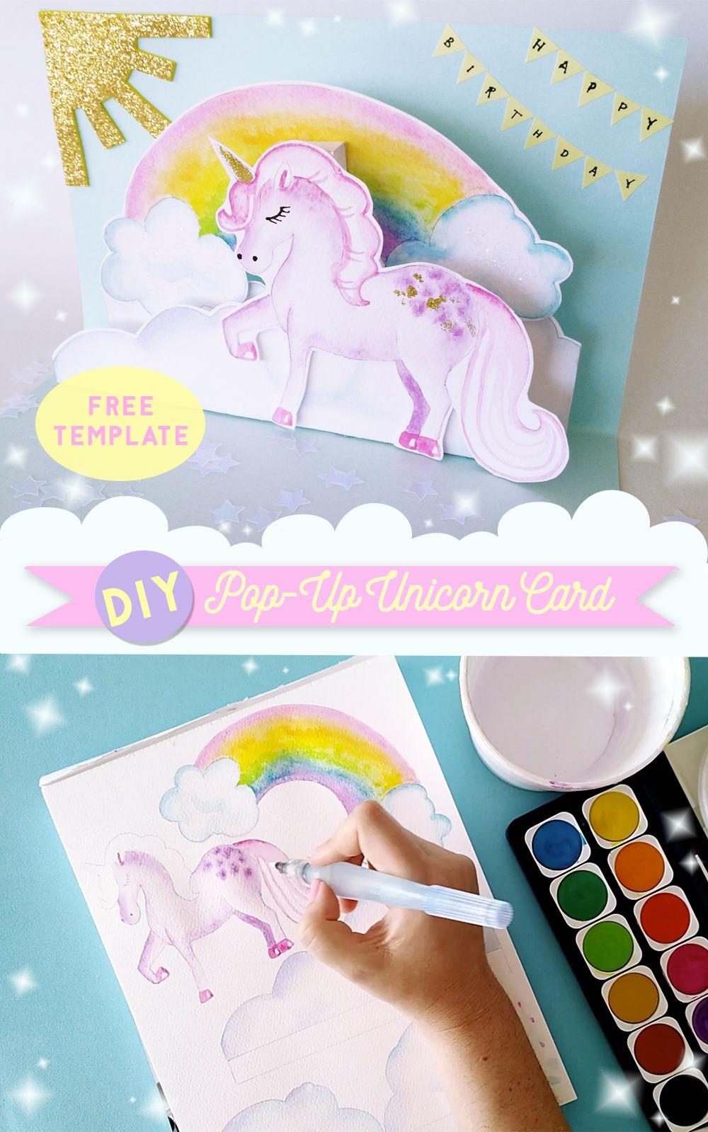 Diy Pop Up Unicorn Birthday Card Unicorn Birthday Cards Diy Unicorn Birthday Card Unicorn Card
