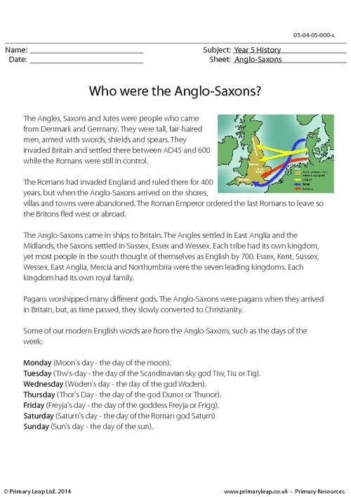 PrimaryLeap Who Were The Anglo Saxons Information