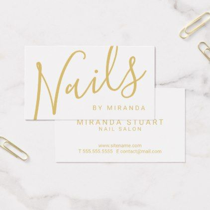 Professional Modern White And Gold Nail Salon Business Card Zazzle Com Makeup Artist Business Cards Nail Salon Business Cards Artist Business Cards
