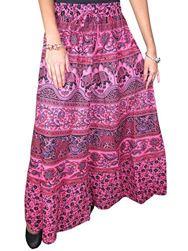da325945e Women's Maxi Skirt- Indian Ethnic Printed Cotton Pink Long Skirts (Fuchsia)  Mogul Interior
