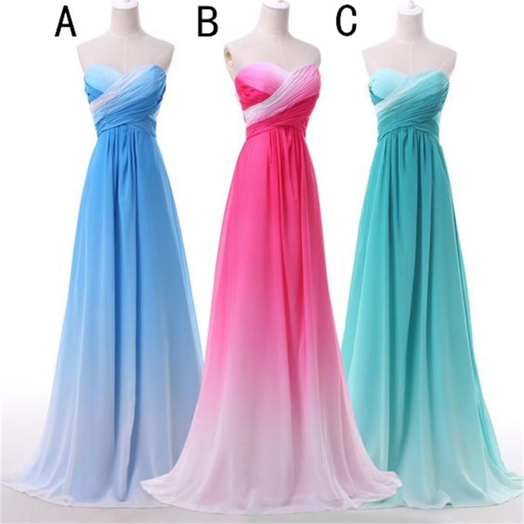Sweetheart Gradient Chiffon Bridesmaid Dress , Cheap Party Evening ...