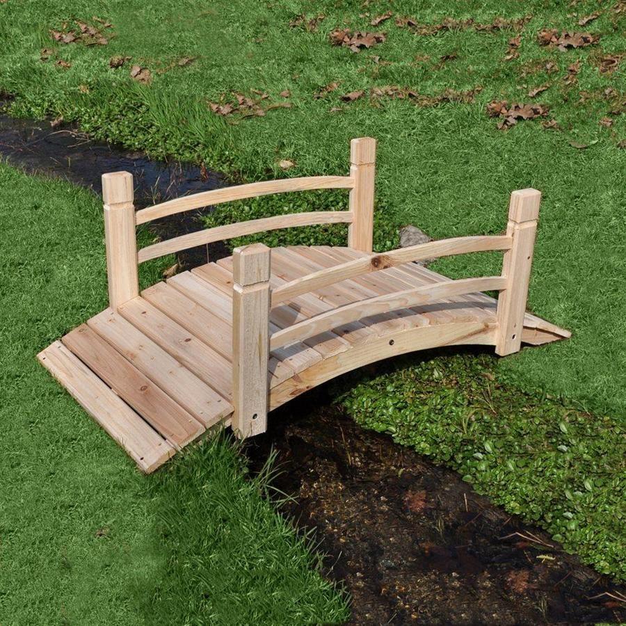 Shine Company 4.041ft Natural Cedar Garden Bridge at