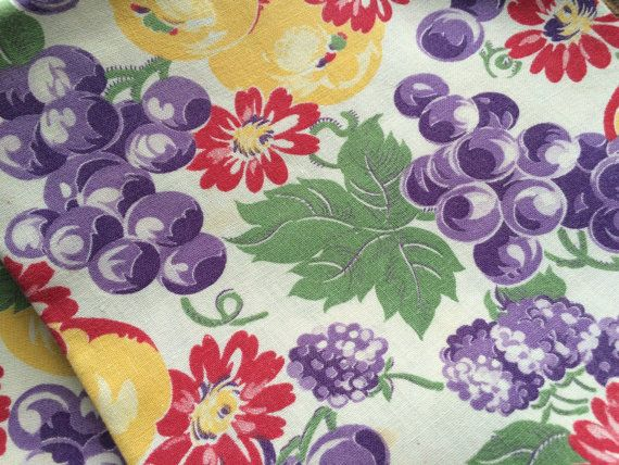 Vintage FEED SACK Tablecloth~Grapes U0026 Floral~Purple Red Green Cotton  Fabric~Tea
