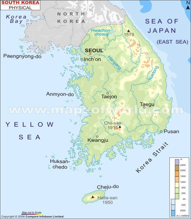 Physical Map of South Korea Maps of Korea Pinterest South