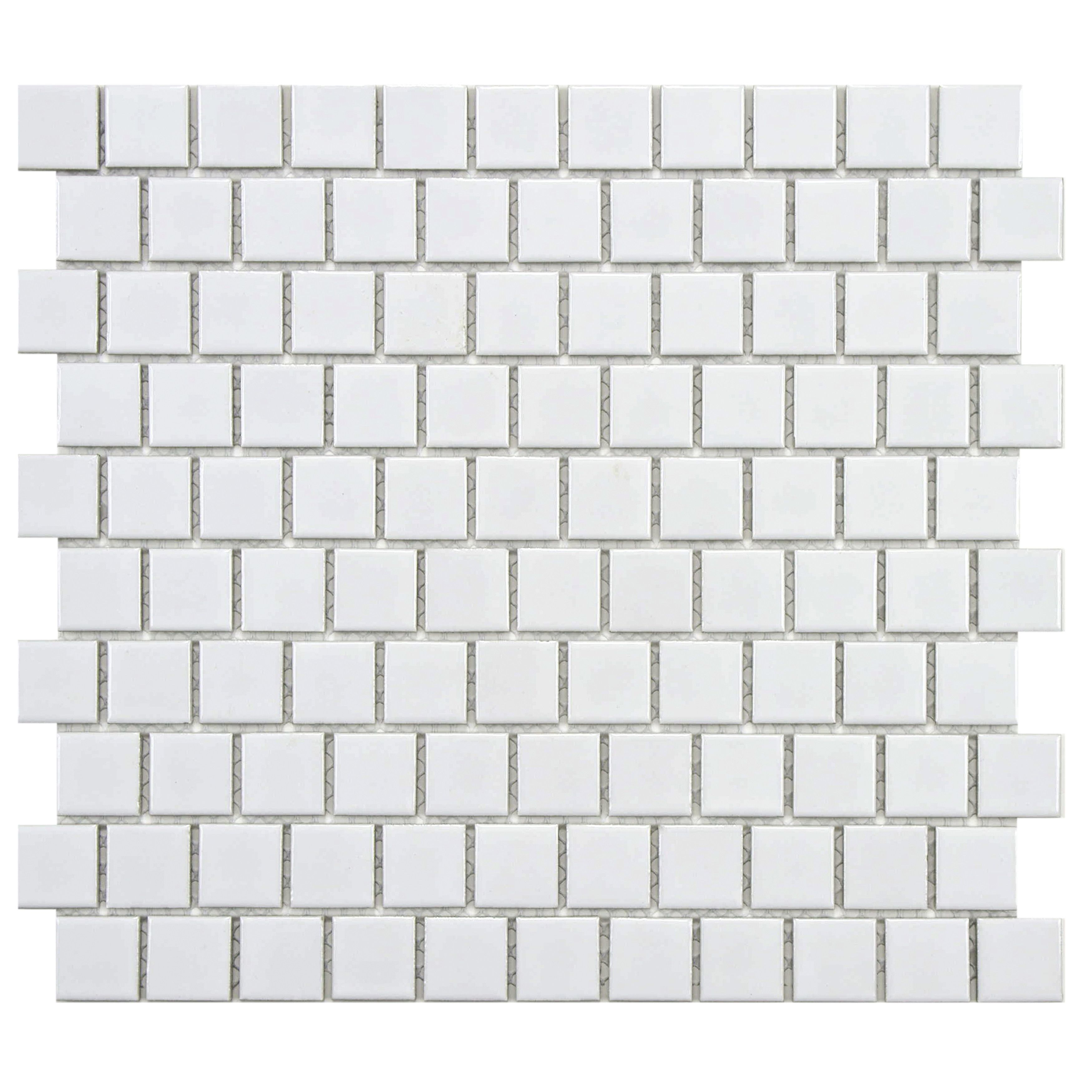 Elitetile retro square offset 1 x 1 porcelain mosaic tile in somertile victorian square glossy offset porcelain mosaic floor and wall tile case dailygadgetfo Image collections