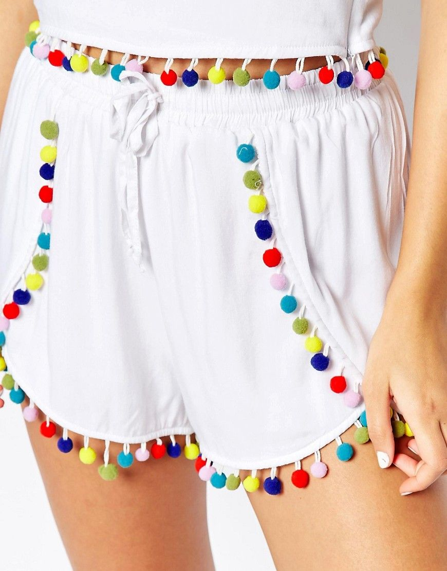 image 3 of liquor & poker shorts with multi colored pom poms