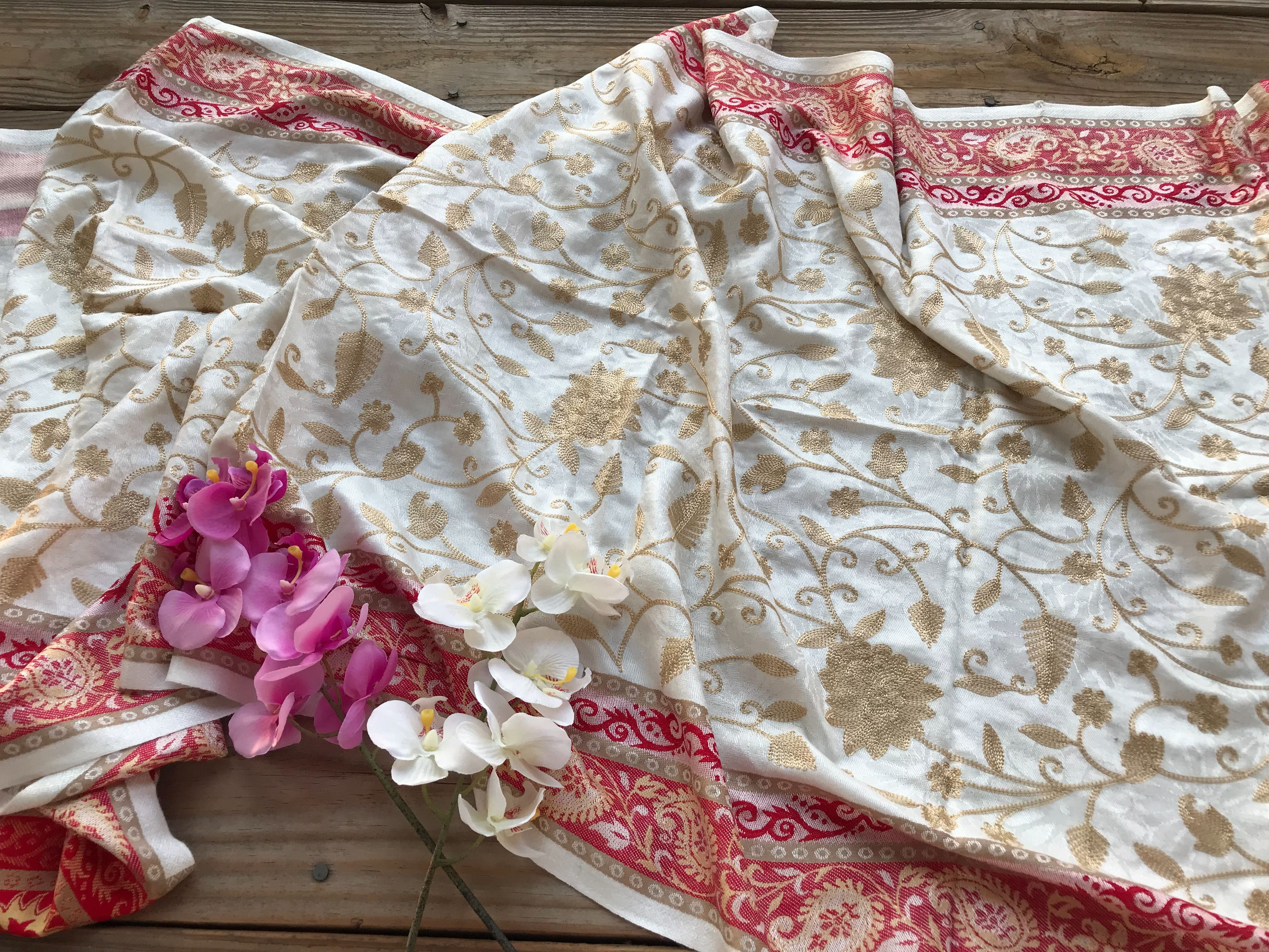 Pure Kashmiri Embroidery Work Pashmina Stole in Off White