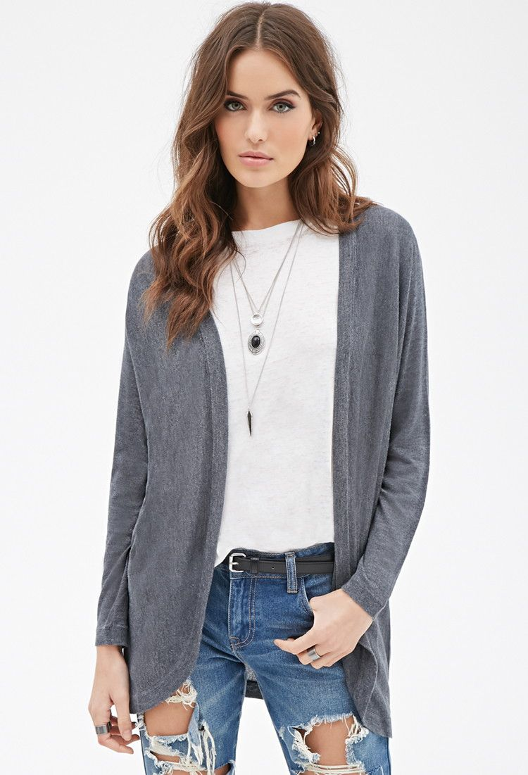Contemporary Longline Open-Front Cardigan | Forever 21 | Pinterest ...