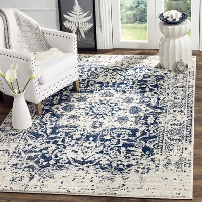 Cream And Navy Area Rug