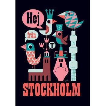 affiche Stockholm noir Ingela P Arrhenius Stockholm and Illustrators